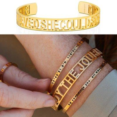 MANTRABAND 美國悄悄話 SHE BELIEVED SHE COULD 金色手環 新款小寬版 她相信她可以