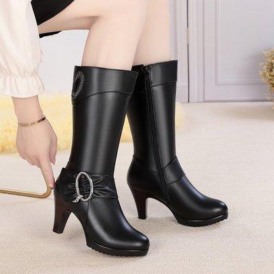 雪地意爾康新款中筒靴女冬季真皮女靴子加絨新高跟保暖防滑保暖棉新靴小惠鴨!ak