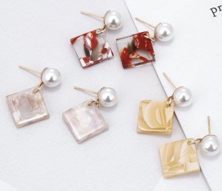 100%Boutique小清新簡約復古壓克力珍珠幾何耳環