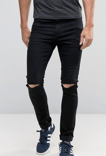 ◎美國代買◎ASOS代買雙膝刷破英倫頹廢風帥氣超顯廋黑色牛仔褲~歐美街風~大尺碼
