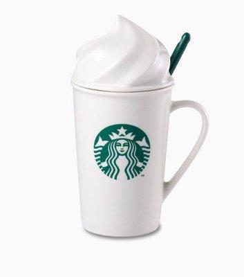 《全新收藏品》星巴克 Starbucks 2014經典女神logo立體奶油造型馬克杯 鮮奶油咖啡杯組 240ml (附湯匙)