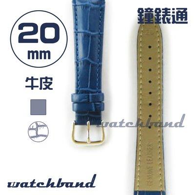 【鐘錶通】C1.61AA《霧面系列》鱷魚格紋-20mm 霧面寶藍┝手錶錶帶/皮帶/牛皮錶帶┥