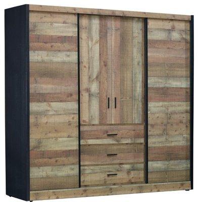 【DH】貨號N16-3名稱《韋恩》7X7尺厚切推門衣櫃組(圖一)木心板.含180度旋轉鏡.台灣製可訂做.主要地區免運費