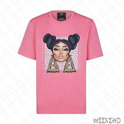 【WEEKEND】 FENDI FF Prints On 短袖 上衣 T恤 粉色 19秋冬 限定款