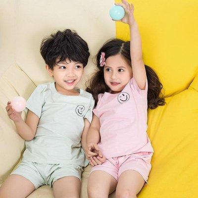 兒童睡衣純棉寶寶家居服男童女童短袖短褲套裝薄款男孩空調服
