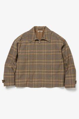 19AW AURALEE WOOL SERGE CHECK ZIP UP BLOUSON 格紋短版羊毛外套3號