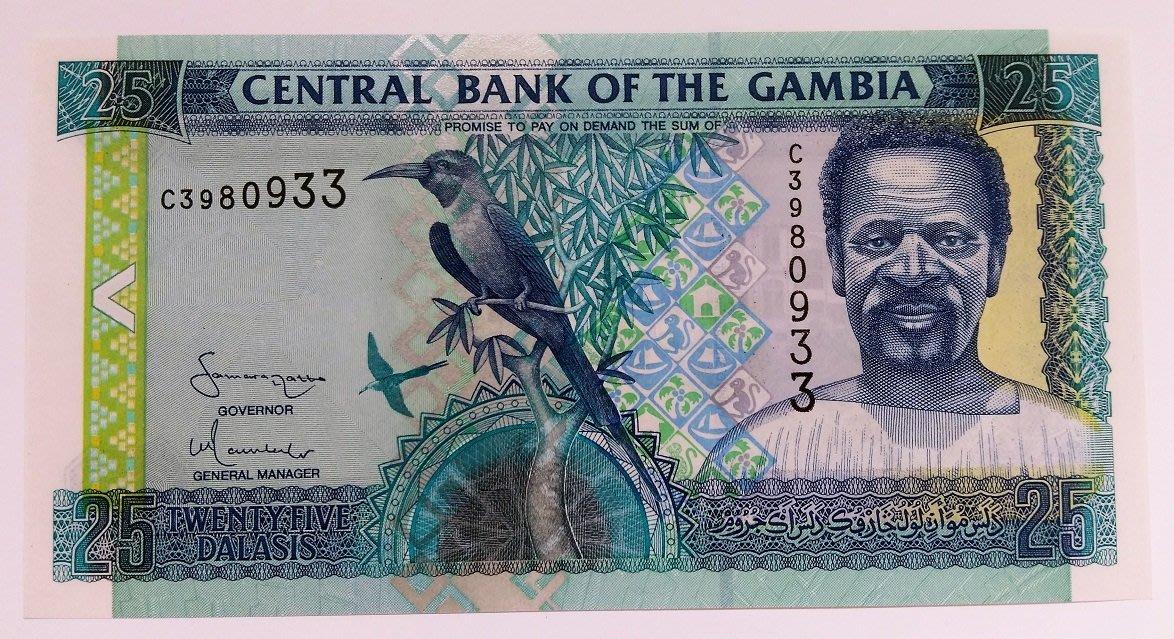 UNC 2001年 稀少收藏 甘比亞共和國 Gambia 25 Dalasis 達拉西 舊版 紙 鈔 收藏 鈔票 錢 幣
