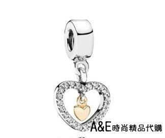 A&E精品代購 Pandora 潘朵拉 14K雙色鑲鑽愛心吊墜珠 925純銀 Charms 美國正品代購