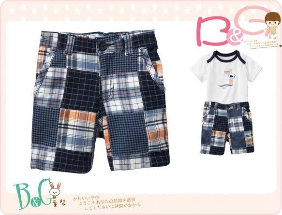 【B& G童裝】正品美國進口OLD NAVY Plaid Patchwork Shorts 藍色格子拼布短褲12-18mos