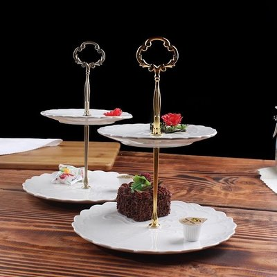 點心盤HYU下午茶點心架蛋糕家用陶瓷雙層水果盤甜品台零食托盤