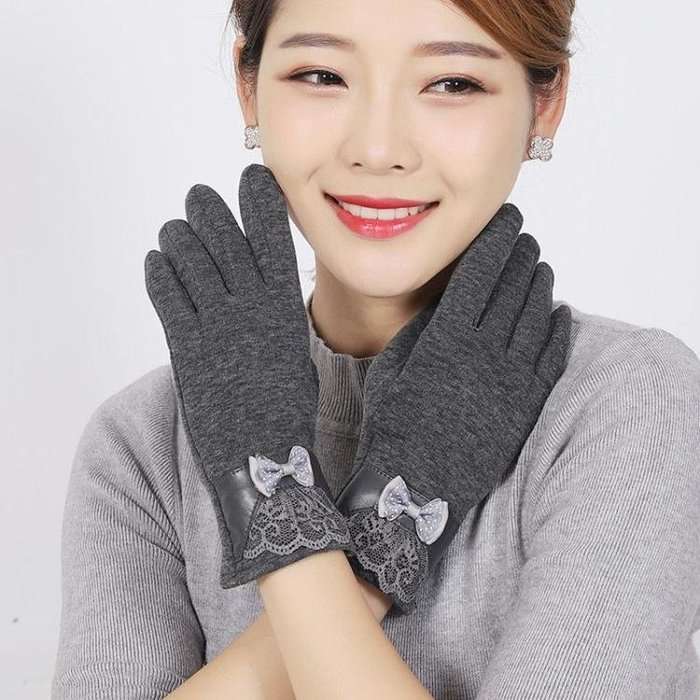騎車冬季手套女加絨加厚騎車保暖兔毛觸屏韓版可愛騎行冬天春秋季