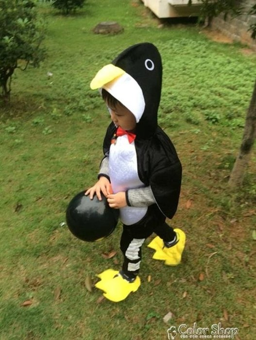 萬聖節新款兒童動物錶演服裝卡通小企鵝幼兒園男女寶寶舞蹈演出服