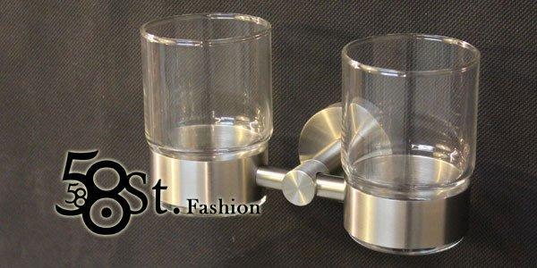 【58街】衛浴不銹鋼精品「不鏽鋼漱口杯架,附2只玻璃杯」。AZ-342