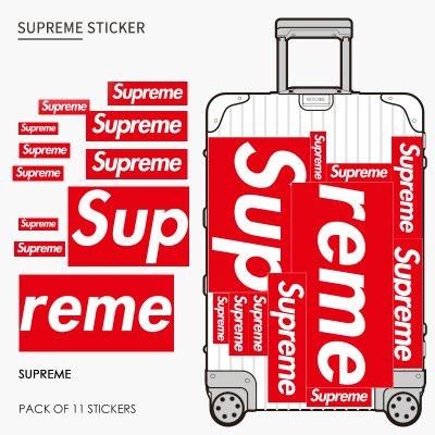 supreme 防水 潮牌 大紅 筆記本 旅行箱 拉桿箱 行李箱 貼紙 ~ 11枚