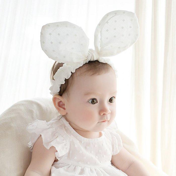 ☆草莓花園☆B40新款兒童髮飾 寶寶嬰兒棉布俏皮大耳朵髮帶頭花  造型周歲照 藝術照