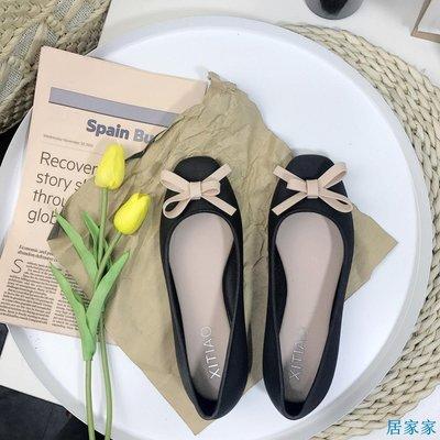 居家家  春秋韓國甜美風性感蝴蝶結平底鞋女果凍鞋淺口方頭單鞋芭蕾鞋女鞋
