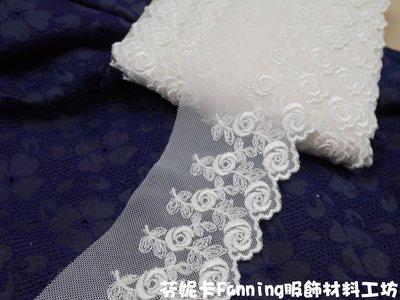 【芬妮卡Fanning服飾材料工坊】白玫瑰花vs黑玫瑰花 網布蕾絲 刺繡花邊 DIY手工材料 1碼入