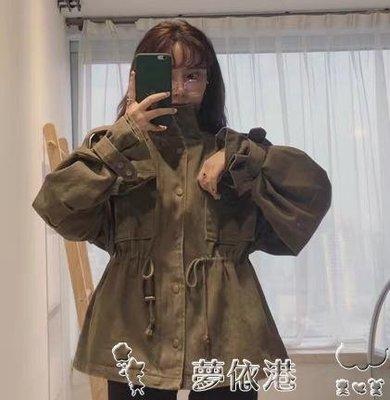 秋季韓國chic復古百搭工裝寬鬆休閒口袋收腰風衣外套女