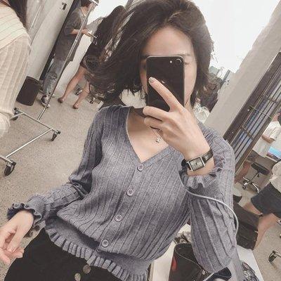 秋裝新款韓版薄款針織衫女長袖開衫短款外套chic早秋毛衣上衣