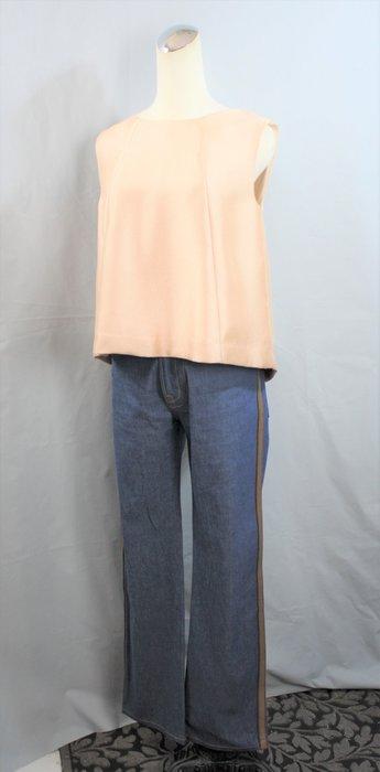 海洋工坊二手名牌旗艦店~PRADA 淺藍鑲皮革邊牛仔靴型褲(中高腰)