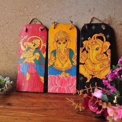 泰國進口木牌 掛件實木手繪招財象神飾酒店家居裝飾掛件 101223