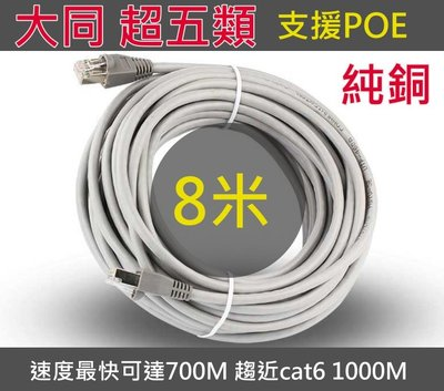 8米 國標 純銅 大同超五類 cat5e 網路線 支援POE 集線器 分享器 電腦 IPCAM NVR NAS