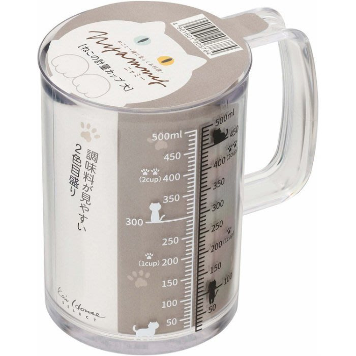 【日貨】日本直送 日本製 KAI Nyammy貝印  貓咪廚房用具系列500ml量杯 日本代購 現貨