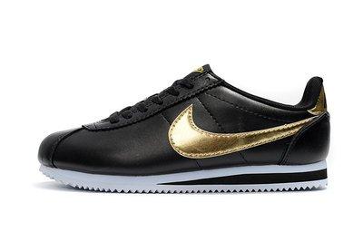 D-BOX NIKE Cortez Basic SL Gs 經典 皮革 黑色 金勾 復古 鐵牌 阿甘鞋