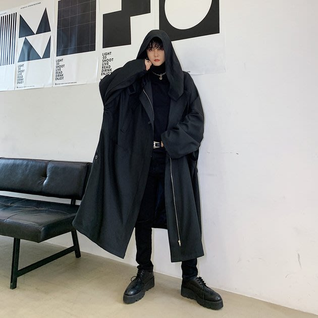 FINDSENSE 2019 秋冬上新 G19  黑色山本風寬鬆連帽個性長款風衣男裝百搭寬鬆休閒外套