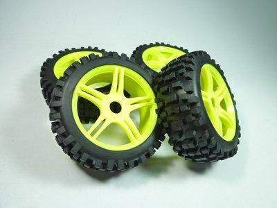 大千遙控模型   1/8 越野巧克胎NR 5爪黃框+內胎(已黏合)一台車份4顆