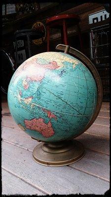 Vintage Americana 。復古事 美國進口 1947-1949年 古董地球儀 二次世界大戰 歷史收藏