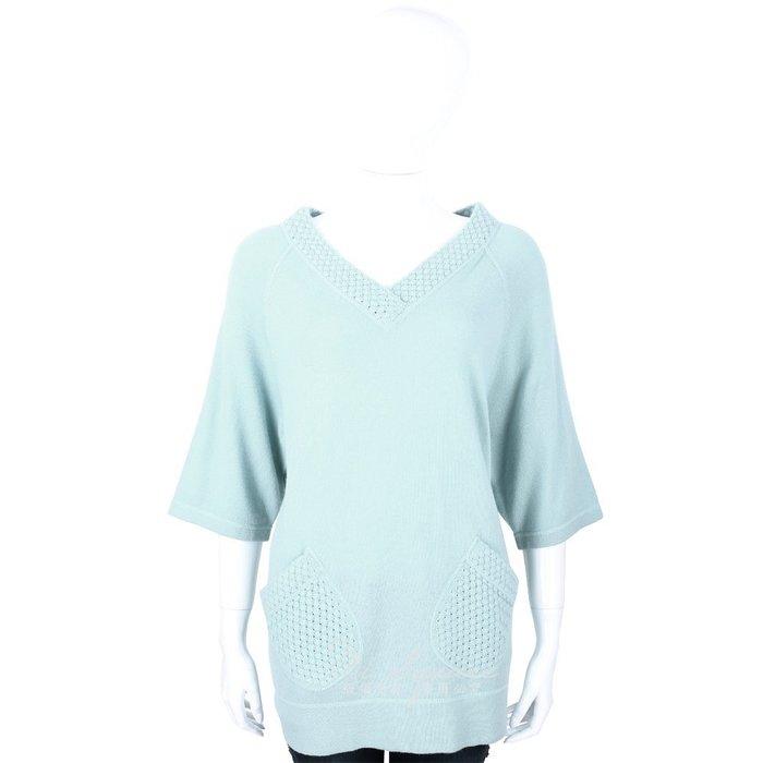 米蘭廣場 ALLUDE 30%CASHMERE 美麗諾羊毛V領織紋上衣(水綠色) 1440547-08