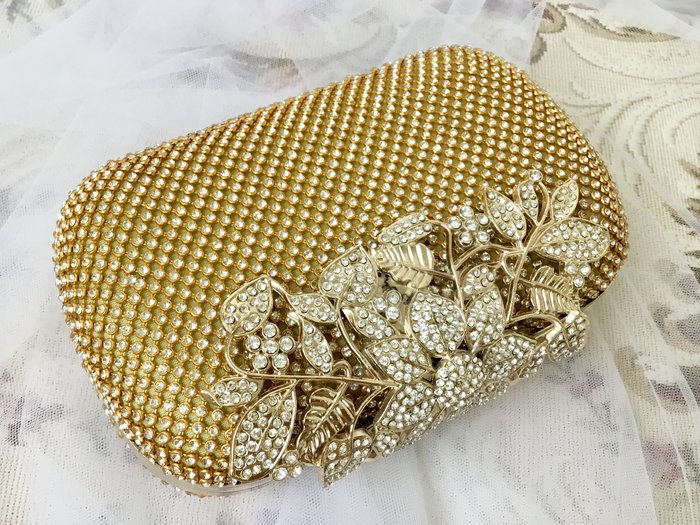 just Queen 實拍 三用式 滿鑽金色晚宴包 手提手拿 肩背 新娘包  宴會 婚禮