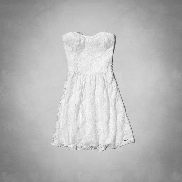【天普小棧】AF A&F Abercrombie&Fitch Gwyneth Lace Dress平口蕾絲洋裝白色S