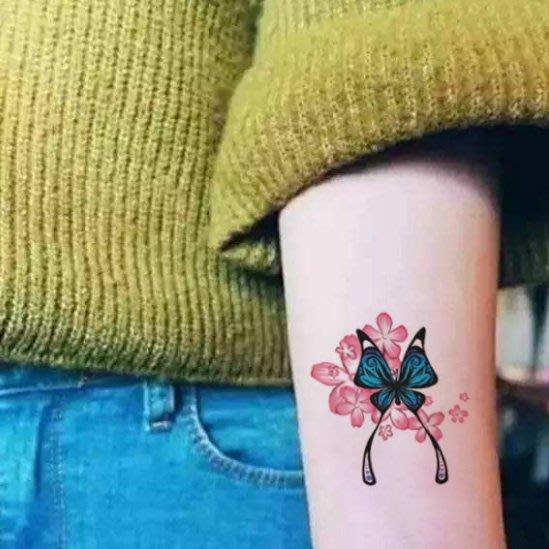 【萌古屋】帶葉蝴蝶花朵單圖321 - 男女防水韓風簡約紋身貼紙刺青貼紙K13