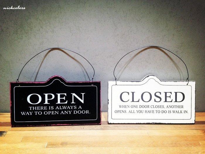 尼克卡樂斯~ OPEN CLOSED 仿舊黑白雙面木門牌 餐廳 咖啡廳 服飾店招牌 開門關店吊牌 復古工業風 鄉村