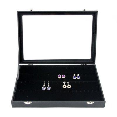 黑色有蓋耳環盤針式耳釘盒首飾盒耳環耳釘收納盒珠寶盒子珠寶箱(中號)_☆優夠好SoGood☆