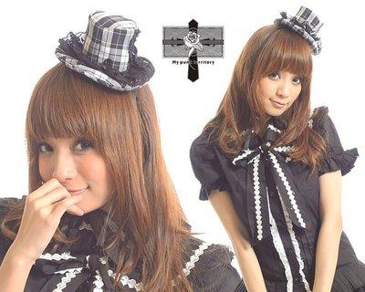 Punk Rock 日本視覺宮廷風皇家格紋手工龐克低調視覺愛心龐克蘿莉綁帶小禮帽