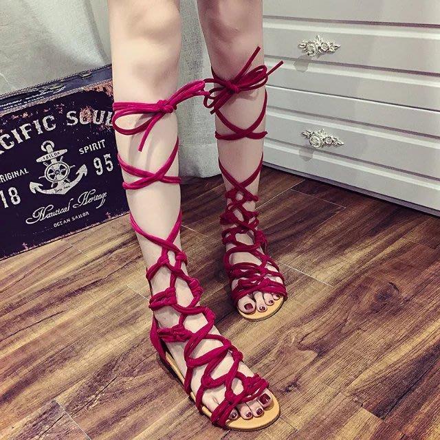 夏季羅馬歐美松緊性感露趾長筒涼鞋女平跟綁帶鏤空高筒平底涼靴--藍品優品