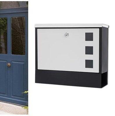 『格倫雅品』別墅信報箱室外掛牆戶外帶鎖鐵藝防銹防雨-白色門+黑底
