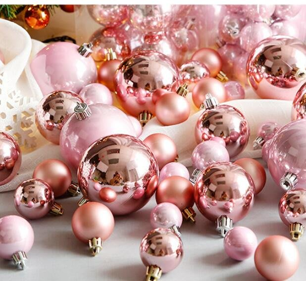 聖誕節裝飾品 3-10cm粉色玫瑰金珠光聖誕球聖誕節裝飾品聖誕樹挂飾用品—莎芭