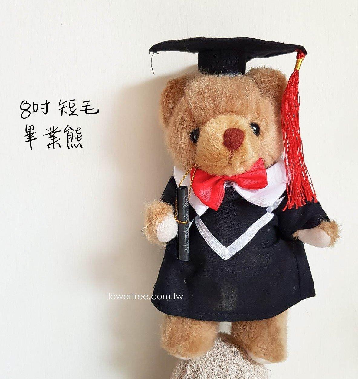 【☆芳馨花園☆】8吋短毛畢業熊-棕色[B102935]~畢業花束.畢業禮~歡迎批發~