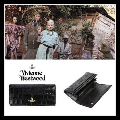 ♔MissyJ英國代購♥ Vivienne Westwood 英倫高質感黑色鱷魚皮紋義大利牛皮革掀蓋式壓扣真皮夾女用長夾
