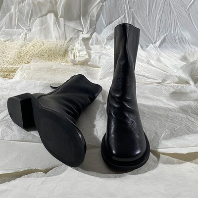 墨染·蓮花府邸冬短靴新款大頭女靴時尚可愛短筒切爾西靴歐美英倫風倒靴