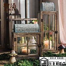 玻璃風燈 燭台裝飾藝術擺件花園庭院復古懷舊鐵藝 【大倉庫】