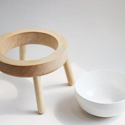 家裡的小怪獸   CATSCITY原創設計太空UFO櫸木實木分離式陶瓷貓碗大容量保護頸椎