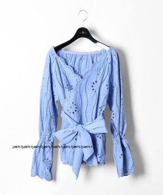 全新~日本品牌 GRACE CONTINENTAL 藍色大人氣雕花綁帶上衣 36