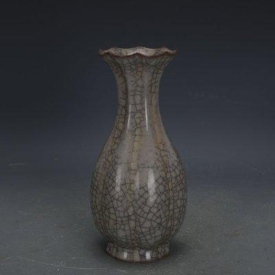 ㊣姥姥的寶藏㊣ 南宋官窯冰裂釉刮徑玉壺春瓶  出土古瓷器手工瓷古玩收藏擺件