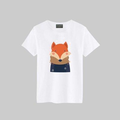 T365 可愛動物 圍巾 狐狸 T恤 男女皆可穿 多色同款可選 短T 素T 素踢 TEE 短袖 上衣 棉T