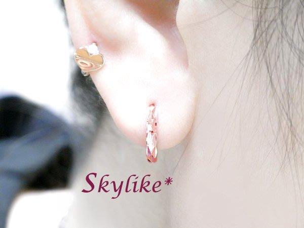 *SKYLIKE*最可愛-韓國進口585/14K白K金、玫瑰K金、黃K金亮面菱型鑽砂紋易扣耳環,TO-75404k